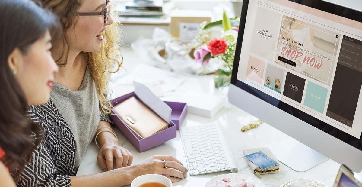 Women Shopping Online Shopaholics Purchase Concept